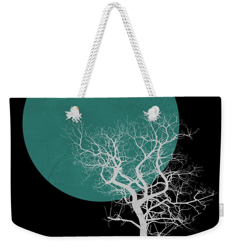 Tree Weekender Tote Bag featuring the mixed media White Tree And Big Moon by Naxart Studio