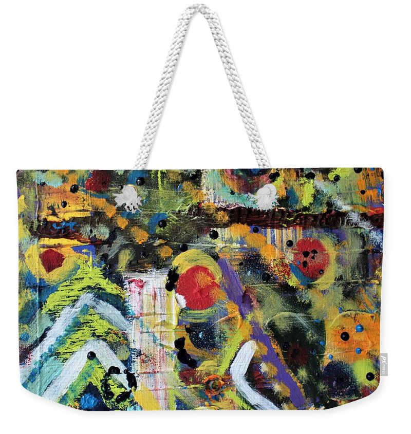 Nature Weekender Tote Bag featuring the painting Who What Where by Pam Roth O'Mara