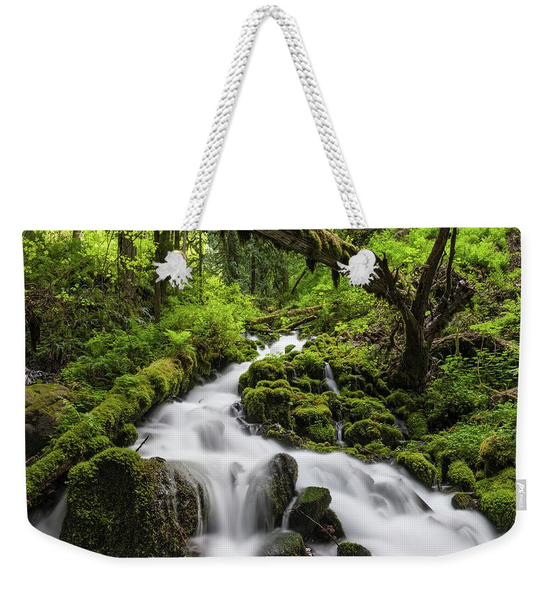 Scenics Weekender Tote Bag featuring the photograph Wild Forest Waterfall Idyllic Green by Fotovoyager