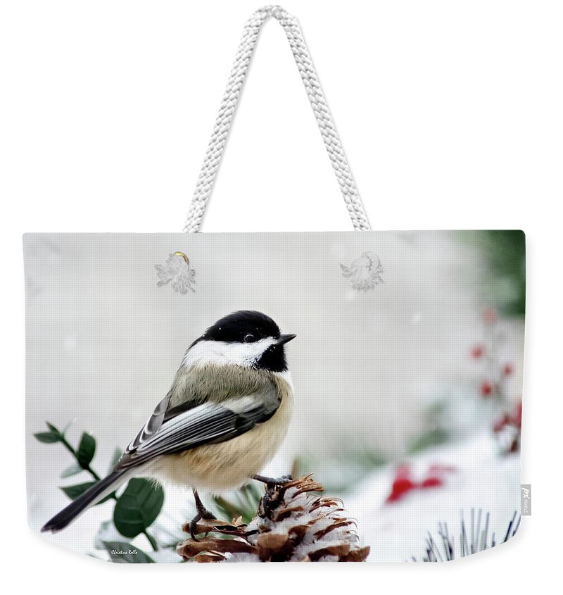 Chickadee Weekender Tote Bag featuring the photograph Winter Chickadee by Christina Rollo