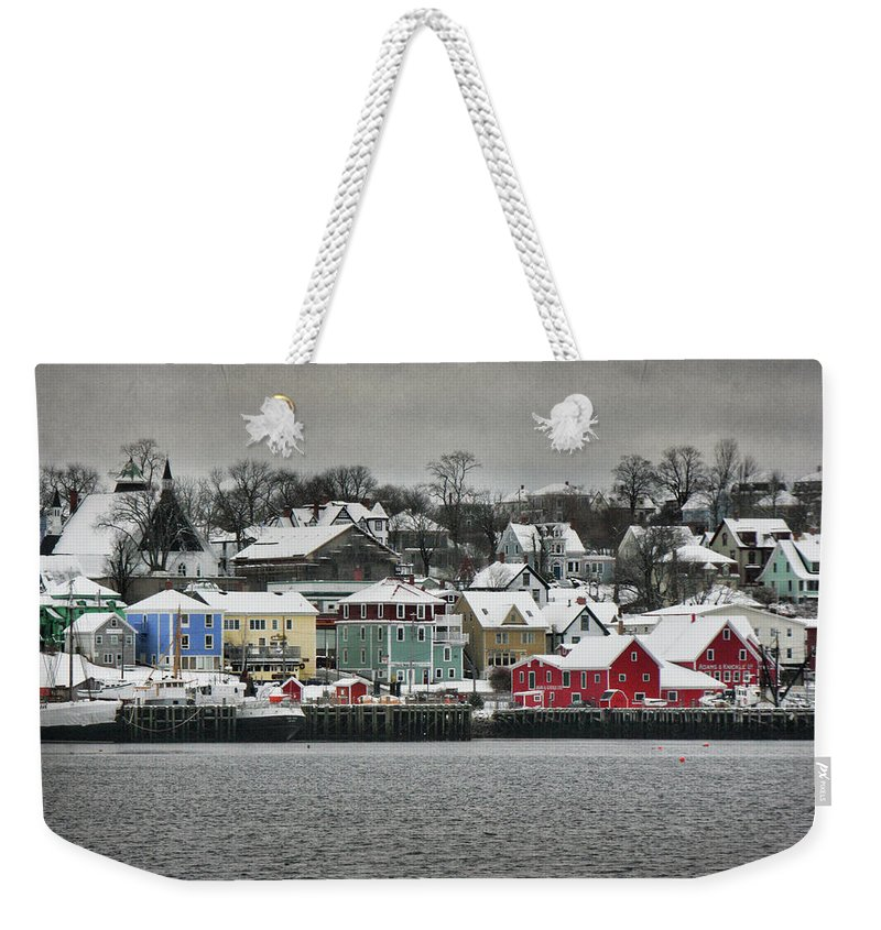 Snow Weekender Tote Bag featuring the photograph Winter In Lunenburg by Amanda White
