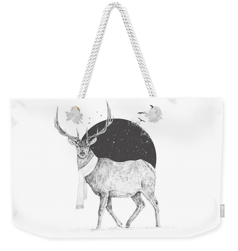 Deer Weekender Tote Bag featuring the drawing Winter Is All Around by Balazs Solti