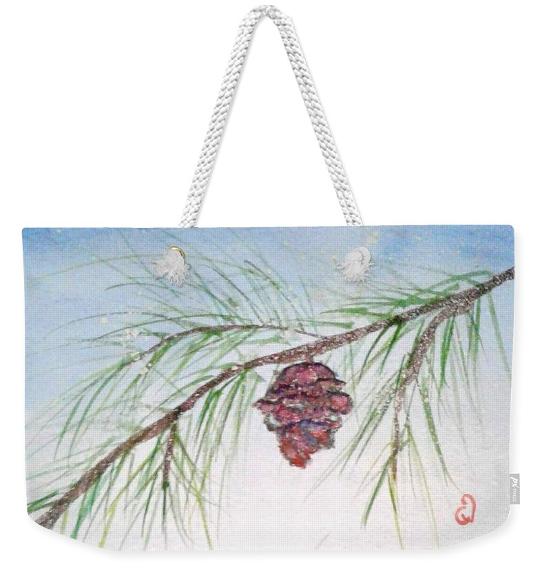 Winter Weekender Tote Bag featuring the painting Winter Is Around The Corner by Christina Winkelstraeter