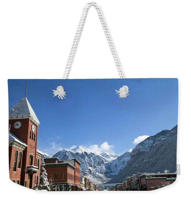 Scenics Weekender Tote Bag featuring the photograph Winter Telluride Colorado by Dougberry