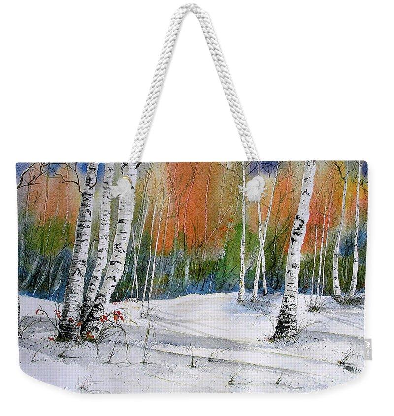 Snow Weekender Tote Bag featuring the painting Winter Wonderland by Midge Pippel