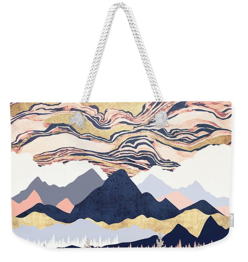 Winter Weekender Tote Bag featuring the digital art Winter's Sky by Spacefrog Designs