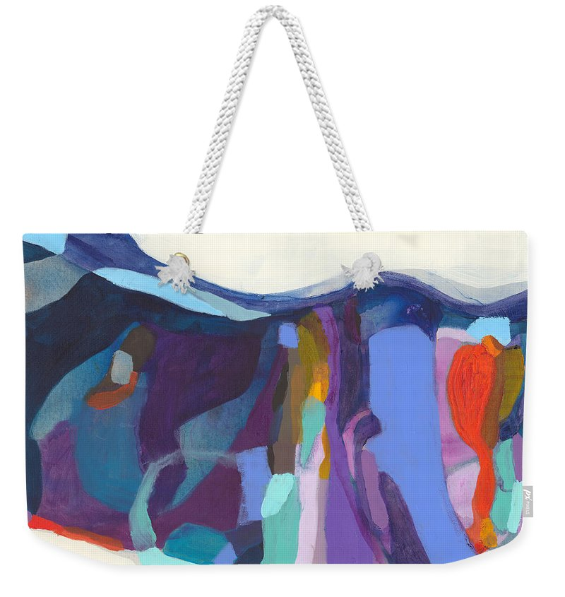 Abstract Weekender Tote Bag featuring the painting With Grace by Claire Desjardins