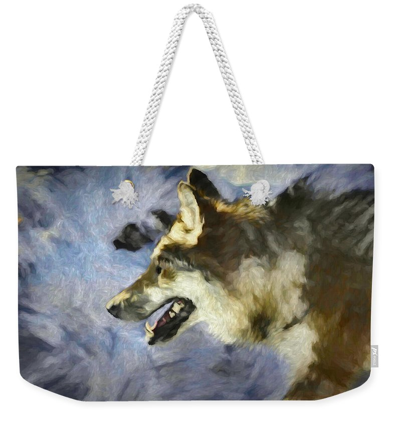 Wolf Weekender Tote Bag featuring the digital art Wolf Storm by Ernie Echols