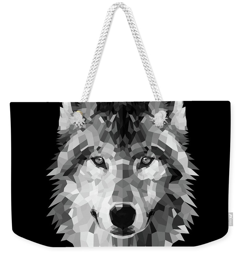Wolf Weekender Tote Bag featuring the digital art Wolf's Face by Naxart Studio