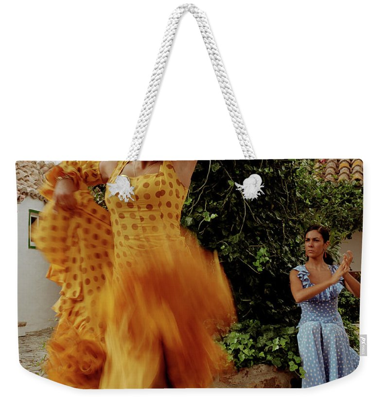 Blurred Motion Weekender Tote Bag featuring the photograph Woman Flamenco Dancer, Outdoors by Tim Macpherson