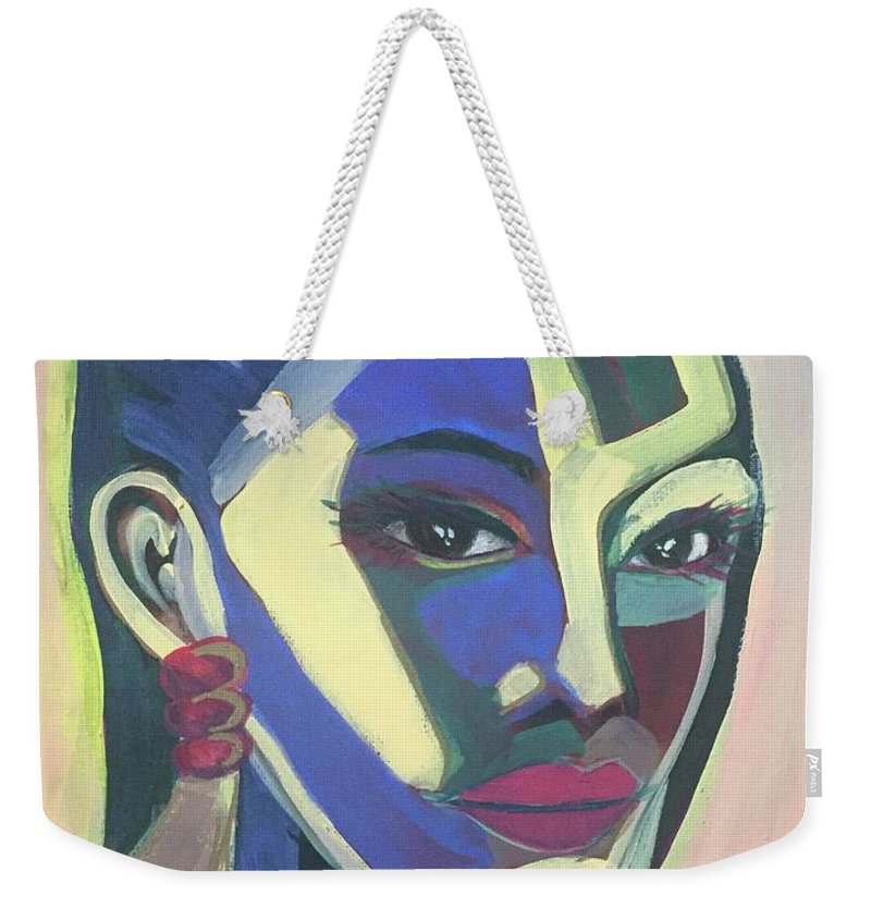 Contemporary Weekender Tote Bag featuring the painting Woman Of Color by Cherylene Henderson