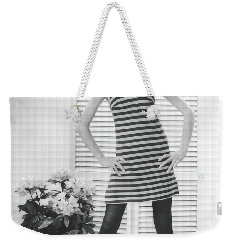 Cool Attitude Weekender Tote Bag featuring the photograph Woman Posing In Studio, B&w, Portrait by George Marks