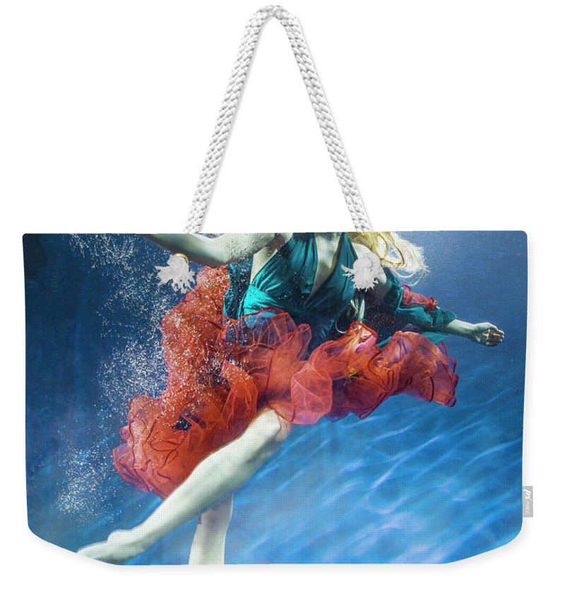 Underwater Weekender Tote Bag featuring the photograph Woman Reaching Underwater by Zena Holloway