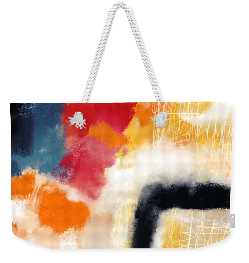 Abstract Weekender Tote Bag featuring the mixed media Wonderland 4- Art By Linda Woods by Linda Woods