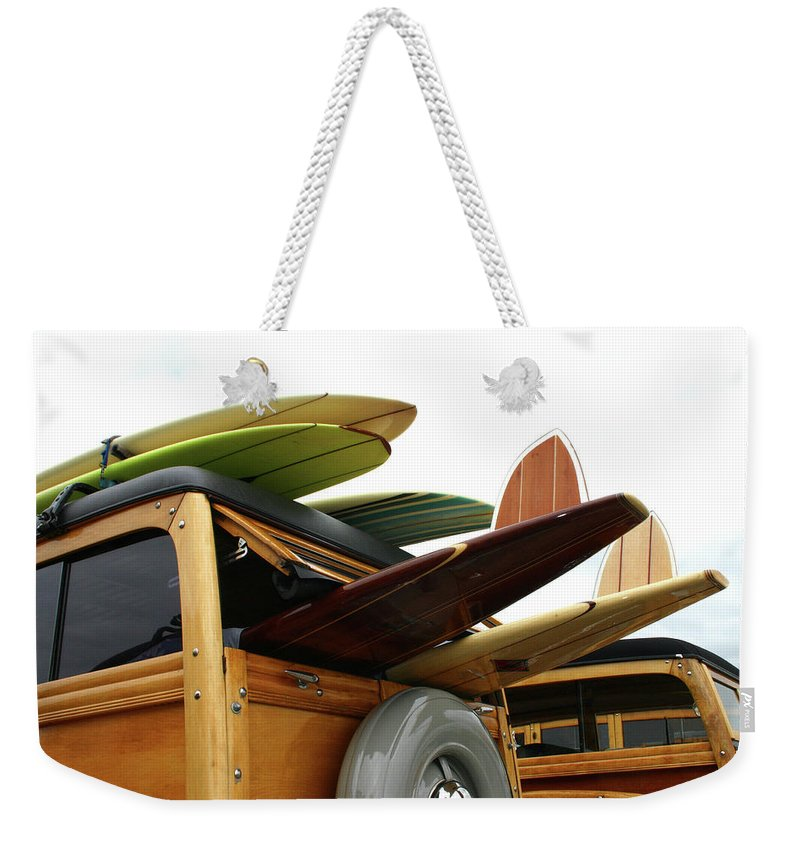Adolescence Weekender Tote Bag featuring the photograph Woodies On The Wharf by Mattabbe