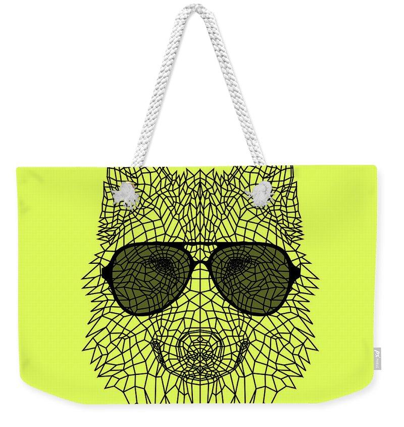 Wolf Weekender Tote Bag featuring the digital art Woolf In Black Glasses by Naxart Studio