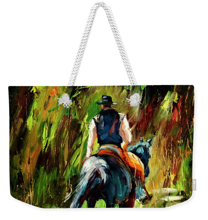 Diane Whitehead Weekender Tote Bag featuring the painting Work is Done Cowboy by Diane Whitehead
