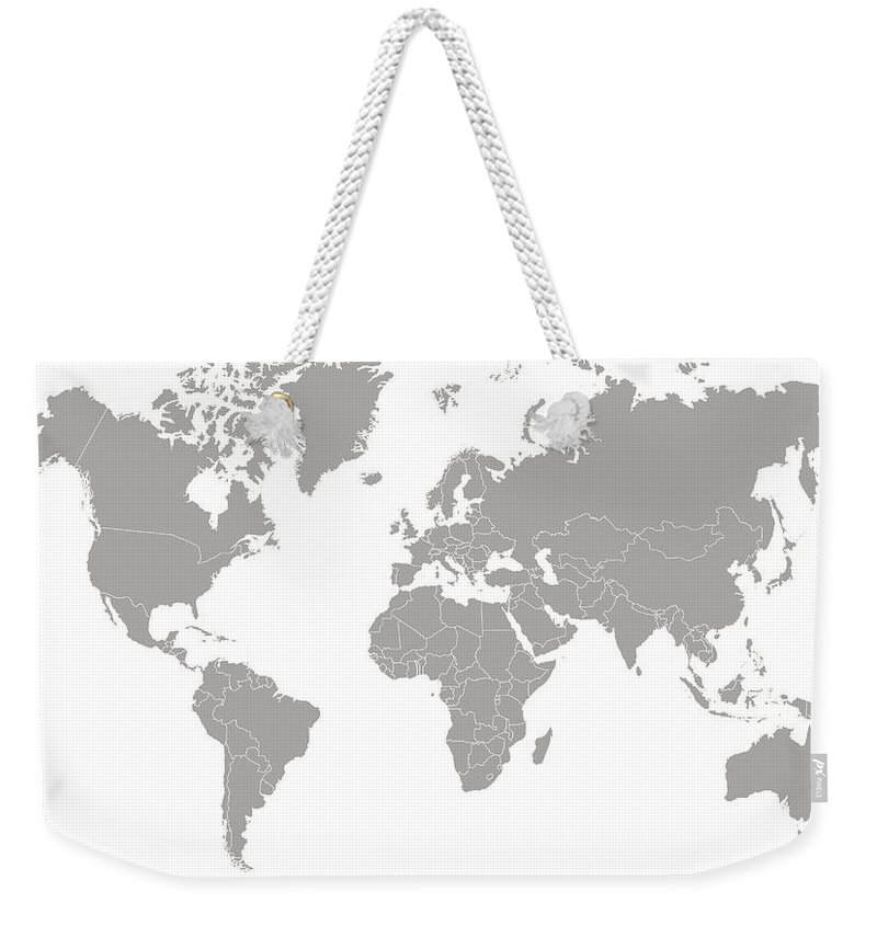 South America Weekender Tote Bag featuring the digital art World Map Outline In Gray Color by Chokkicx