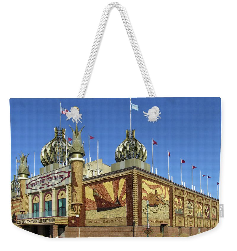Corn Palace Weekender Tote Bag featuring the photograph Worlds Only Corn Palace 2018-19 by Rich Stedman
