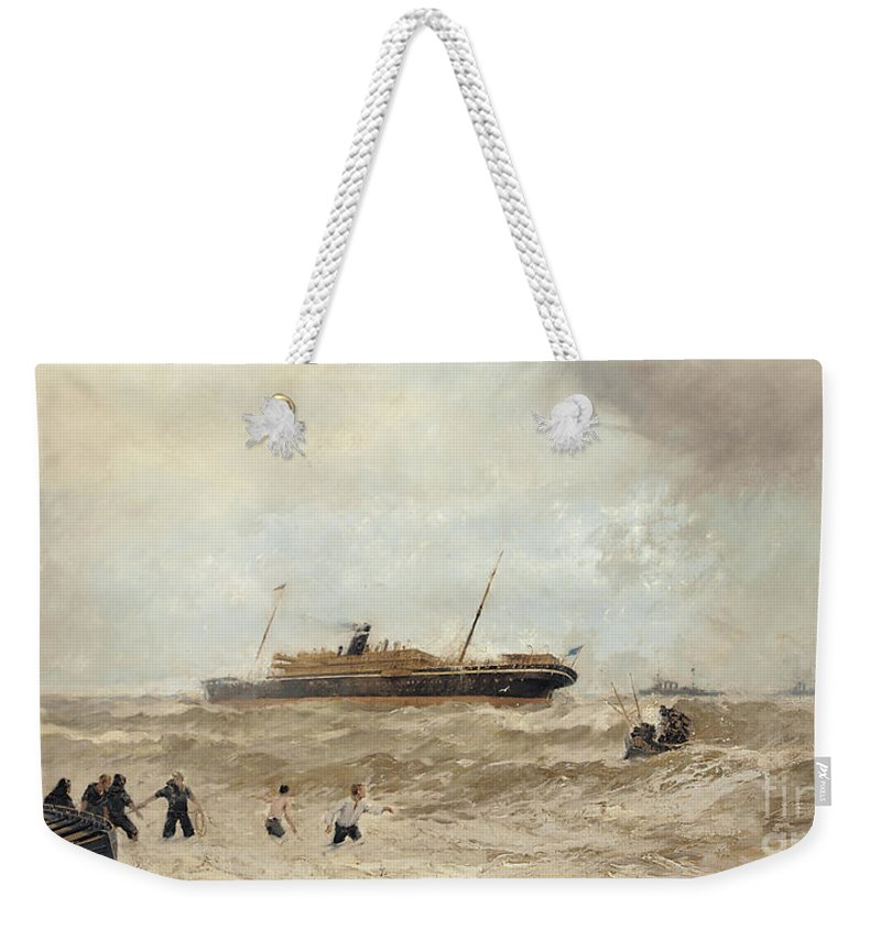 Sea Weekender Tote Bag featuring the painting Wreck Of The Delhi Off Cape Spartel, 13th January 1911, Landing Of The Princess Royal, 1912 by Algernon Yockney