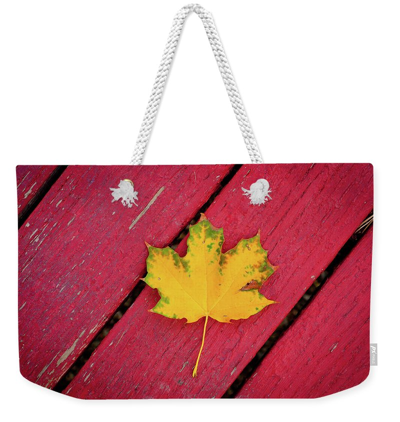 Outdoors Weekender Tote Bag featuring the photograph Yellow Maple Leaf Against A Red Deck by Photo By Sam Scholes