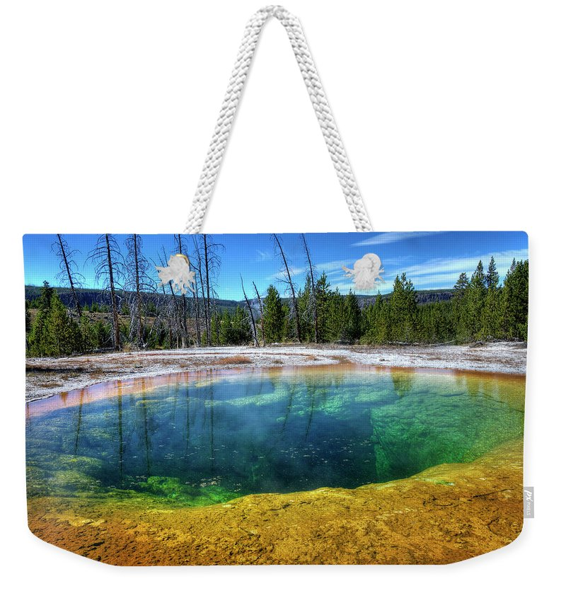 Morning Glory Pool Weekender Tote Bag featuring the photograph Yellowstone Hot Spring by Dbushue Photography