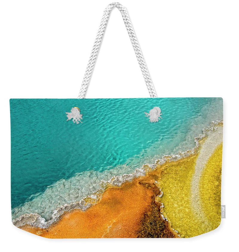 Geology Weekender Tote Bag featuring the photograph Yellowstone West Thumb Thermal Pool by Bill Wight Ca