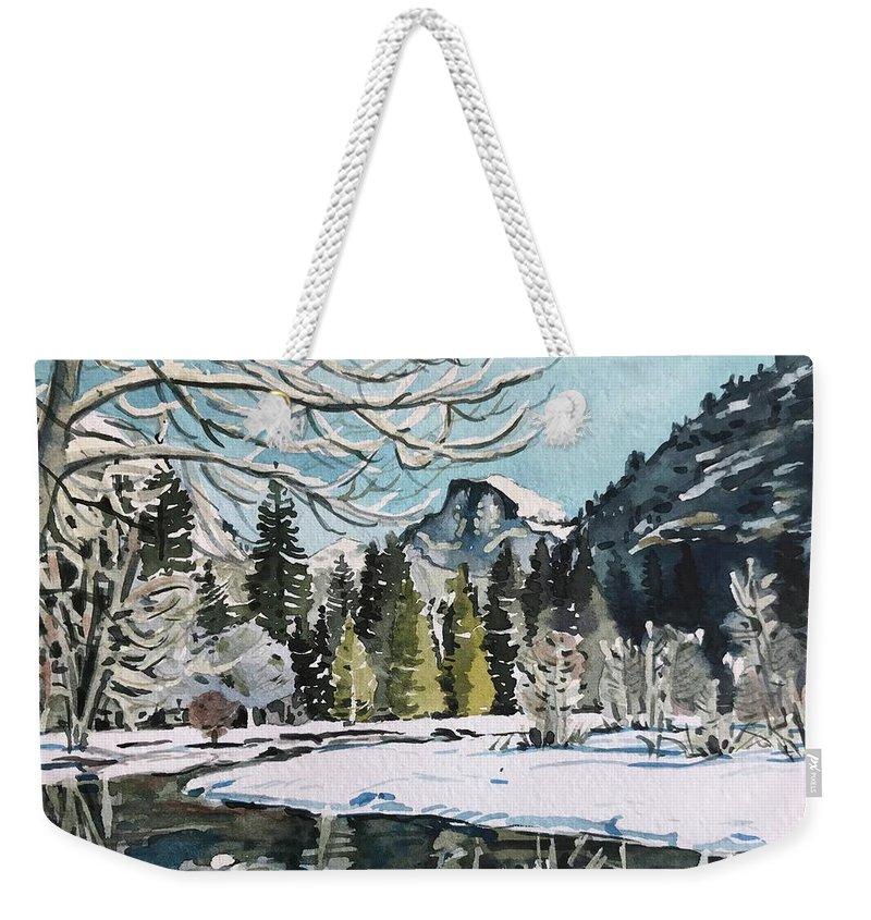 Yosemite Weekender Tote Bag featuring the painting Yosemite Valley - December by Luisa Millicent