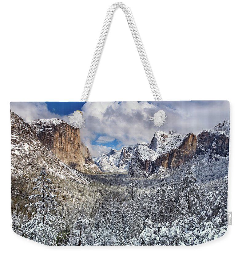 Scenics Weekender Tote Bag featuring the photograph Yosemite Valley In Snow by Www.brianruebphotography.com