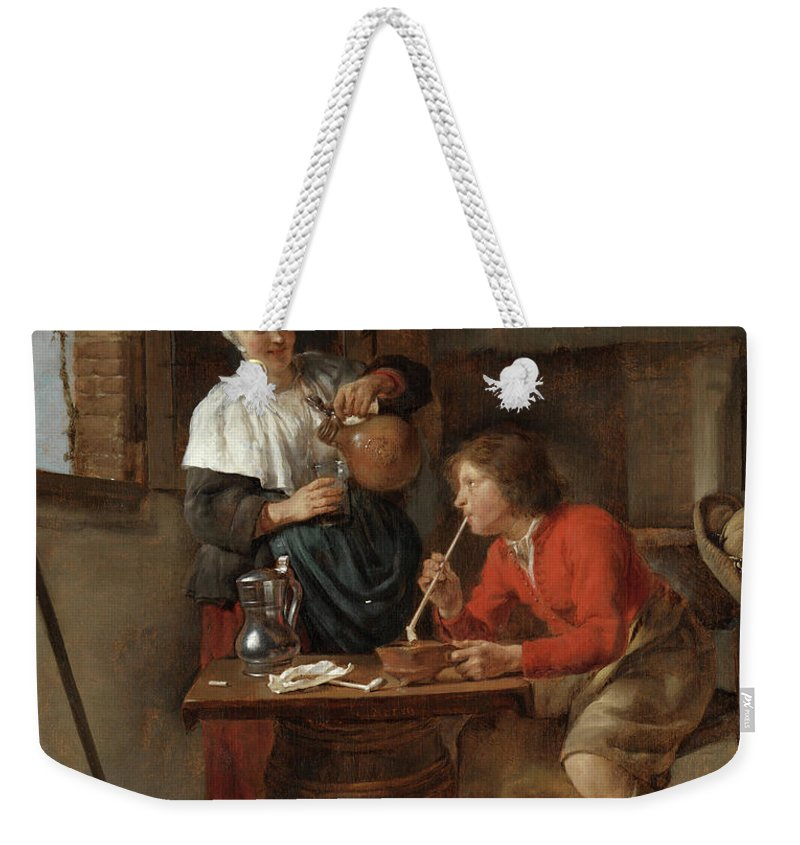 Gabriel Metsu Weekender Tote Bag featuring the painting Young Man Smoking And A Woman Pouring Beer by Gabriel Metsu