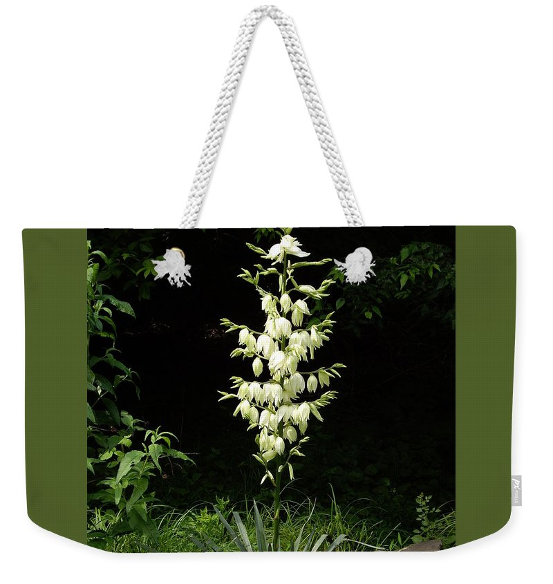 Yucca Weekender Tote Bag featuring the photograph Yucca Blossoms by Nancy Ayanna Wyatt