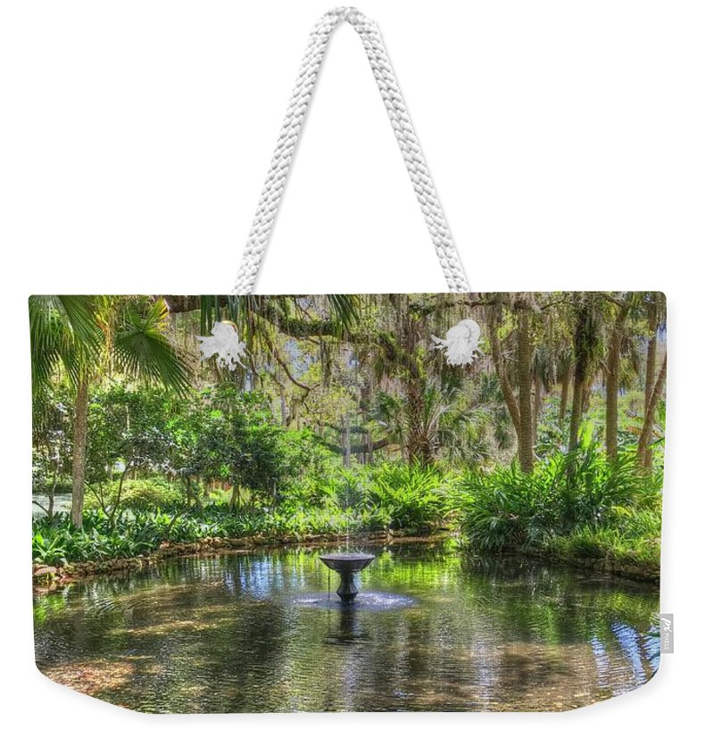 Fountain Weekender Tote Bag featuring the photograph Zen Retreat by Debbi Granruth