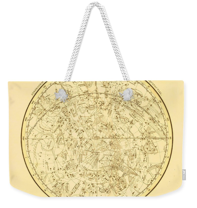Engraving Weekender Tote Bag featuring the digital art Zodiac Map by Nicoolay