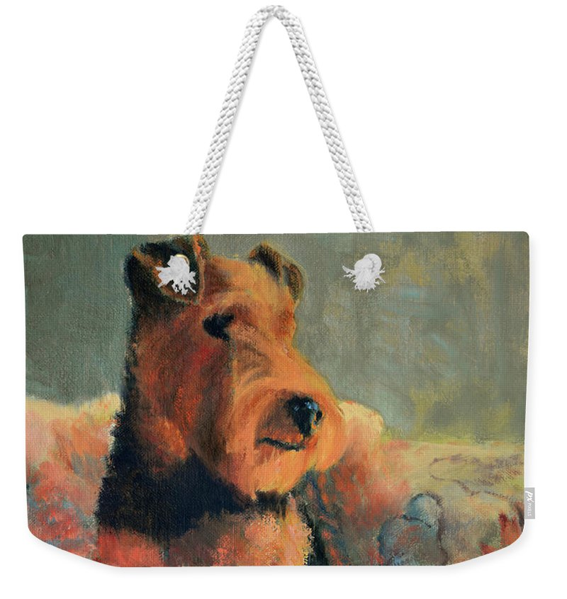 Pet Weekender Tote Bag featuring the painting Zuzu by Keith Burgess