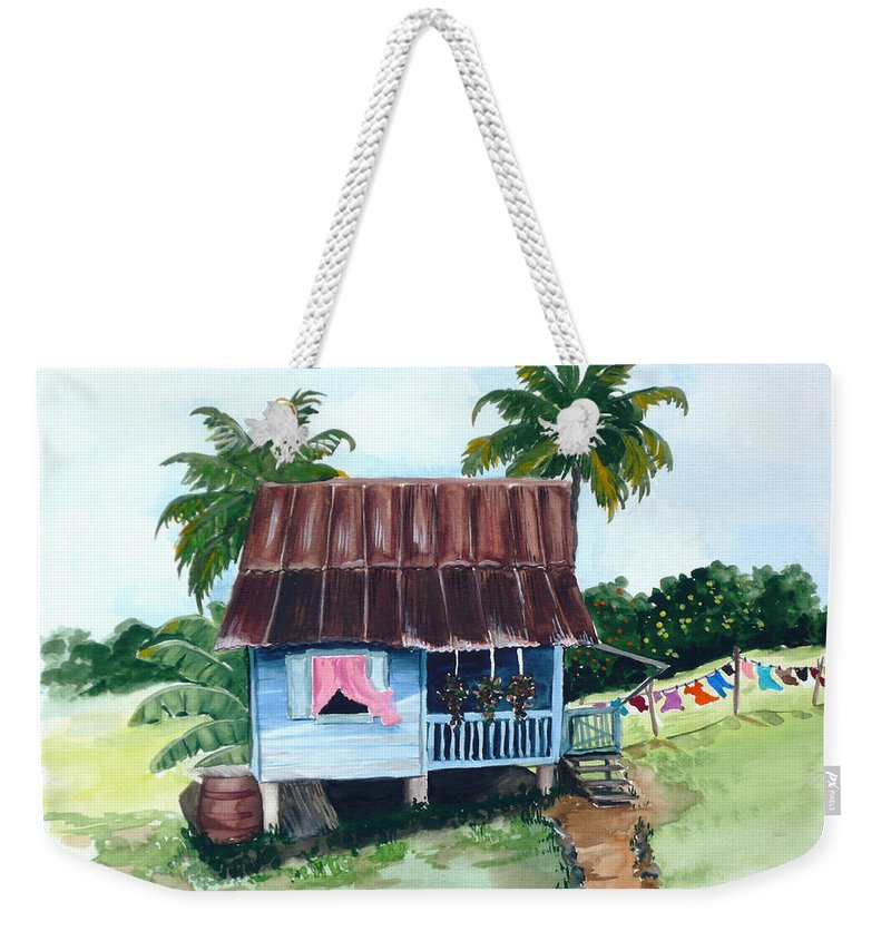 Landscape Painting Caribbean House Painting Blue House Painting Trinidad And Tobago Painting Greeting Card Painting Island Painting Tropical House Painting Blue Painting Weekender Tote Bag featuring the painting Little Blue House by Karin Dawn Kelshall- Best