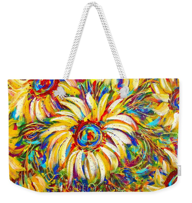 Flowers Weekender Tote Bag featuring the painting Sunflower Burst by Natalie Holland