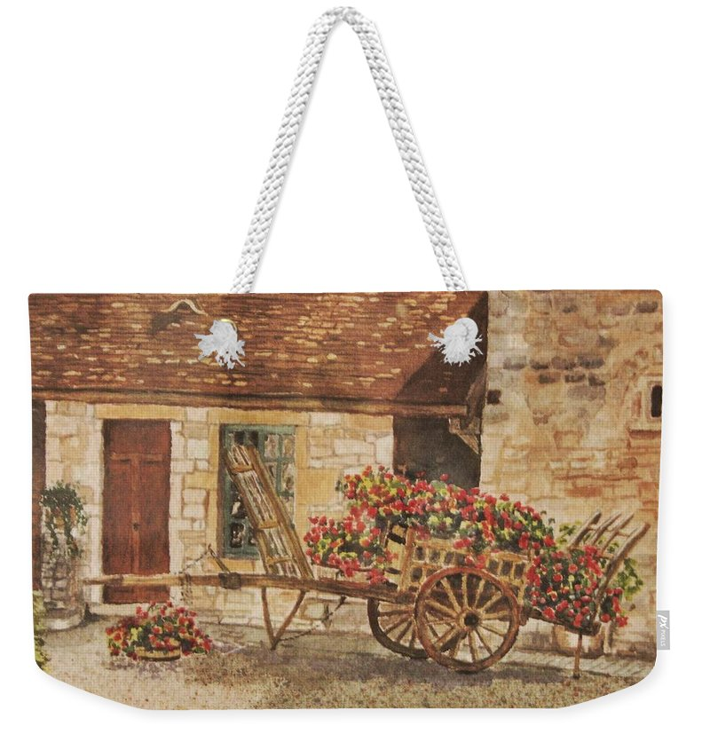 Rustic Weekender Tote Bag featuring the painting Vougeot French Vineyard by Mary Ellen Mueller Legault