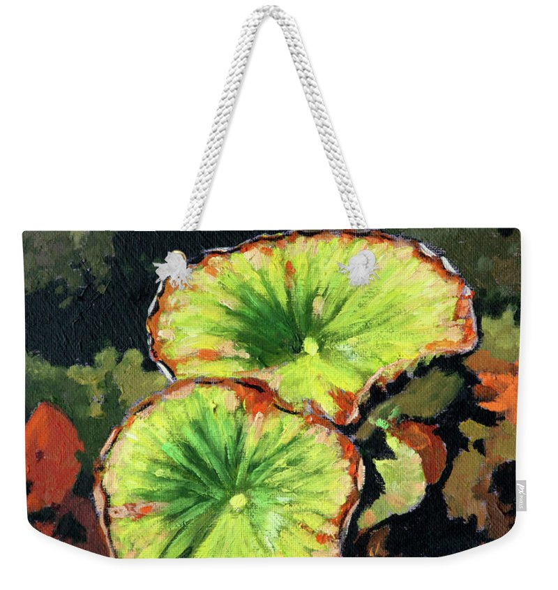 Lotus Leaves Weekender Tote Bag featuring the painting Autumn Lotus Leaves by John Lautermilch
