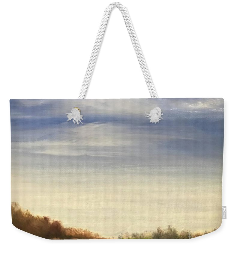 Blue Sky Landscape Weekender Tote Bag featuring the painting Blue Sky by Sheila Mashaw