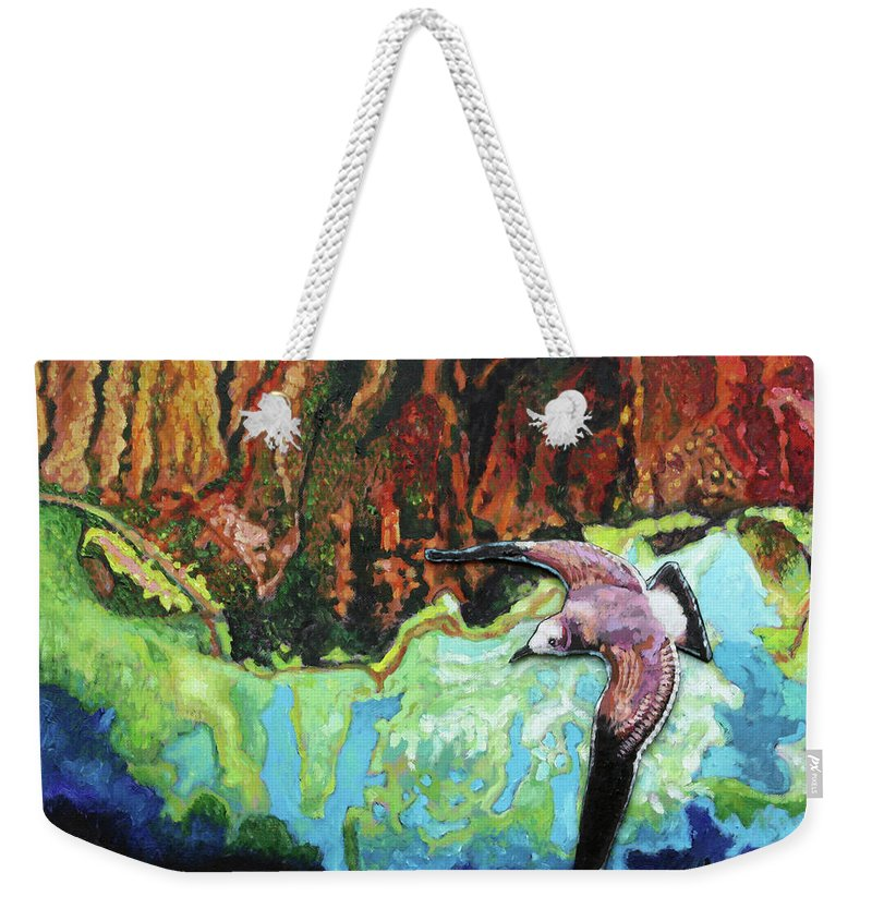 Sea Gull Weekender Tote Bag featuring the painting Flying High by John Lautermilch