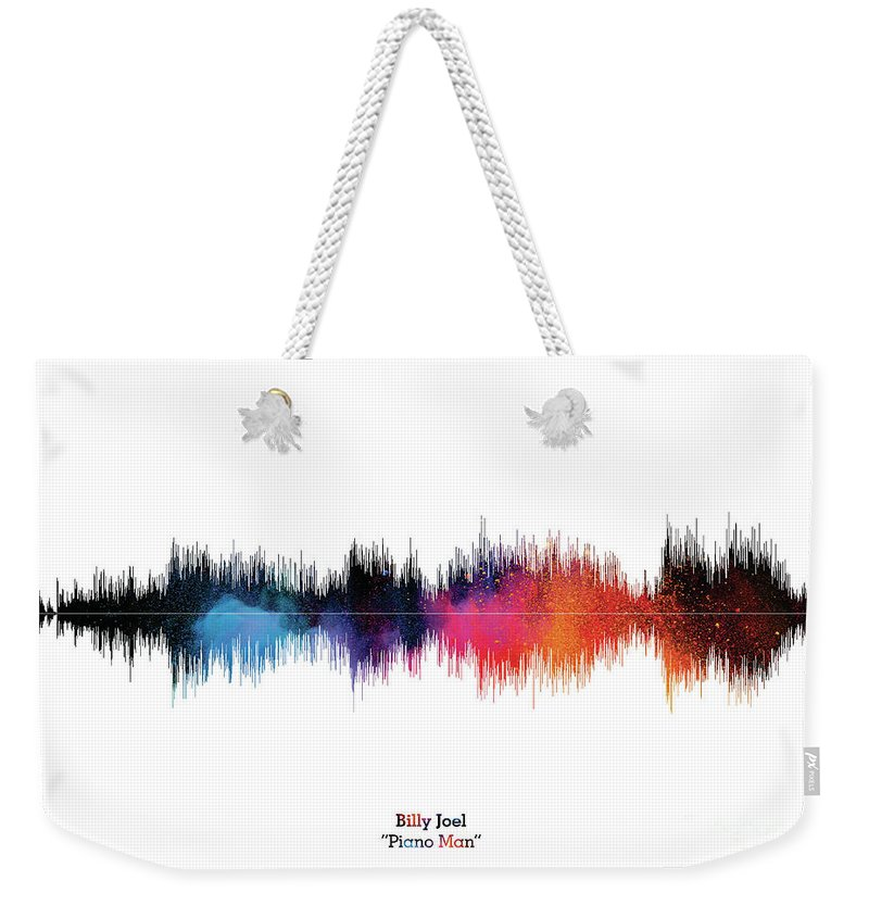 Music Poster Weekender Tote Bag featuring the digital art LAB NO 4 Billy Joel Piano Man Song Soundwave Print Music Lyrics Poster by Lab No 4 The Quotography Department