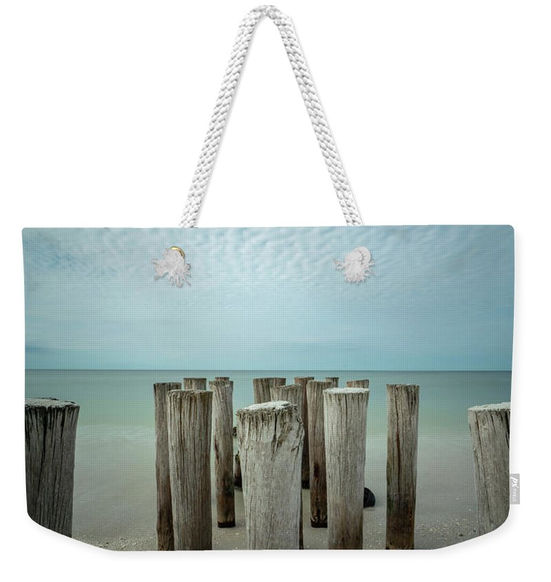 Naples Florida 2021 Weekender Tote Bag featuring the photograph Naples Pilings 2021 by Joey Waves