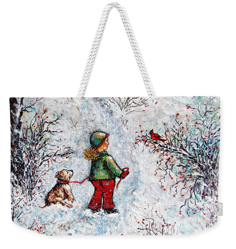 Winter Weekender Tote Bag featuring the painting Pleasant Meeting by Natalie Holland