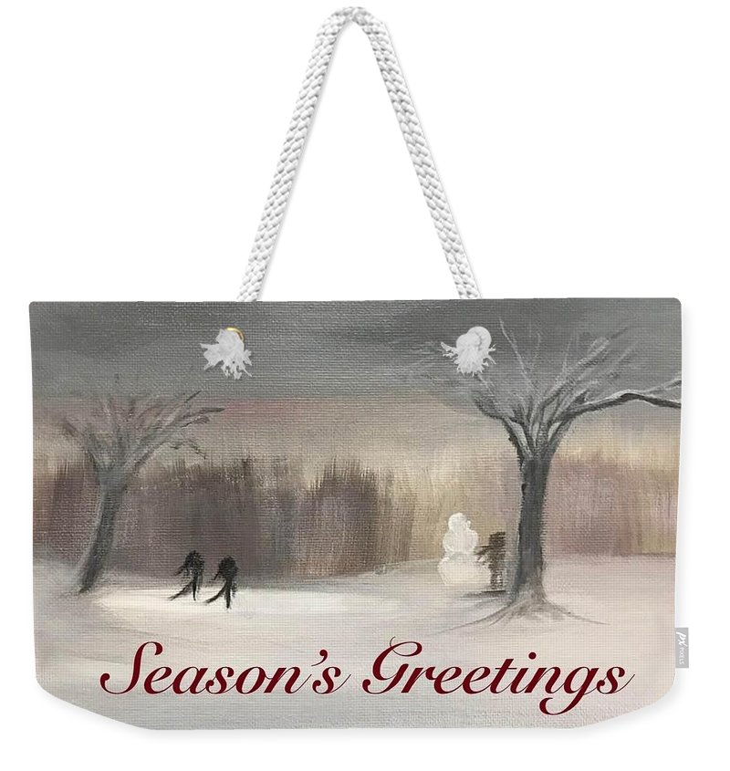 Holidays Weekender Tote Bag featuring the painting Seasons Greetings by Sheila Mashaw
