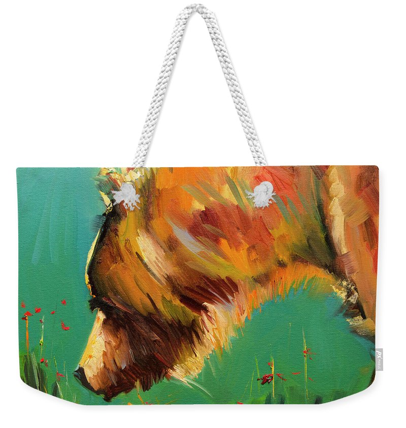 Diane Whitehead Bear Art Weekender Tote Bag featuring the painting Sniff Bear by Diane Whitehead
