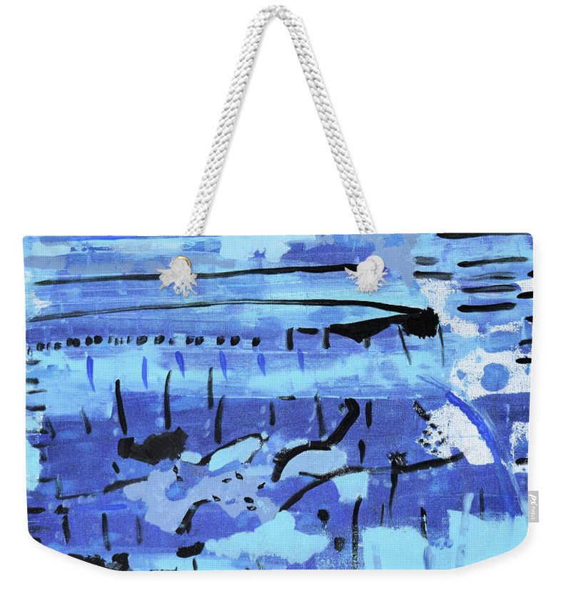 Colorado Weekender Tote Bag featuring the painting Something Blue by Pam Roth O'Mara
