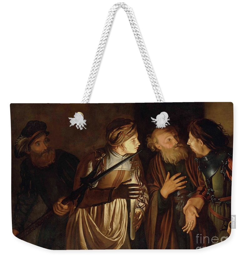 Coster Weekender Tote Bag featuring the painting The Denial of Saint Peter by Adam de Coster