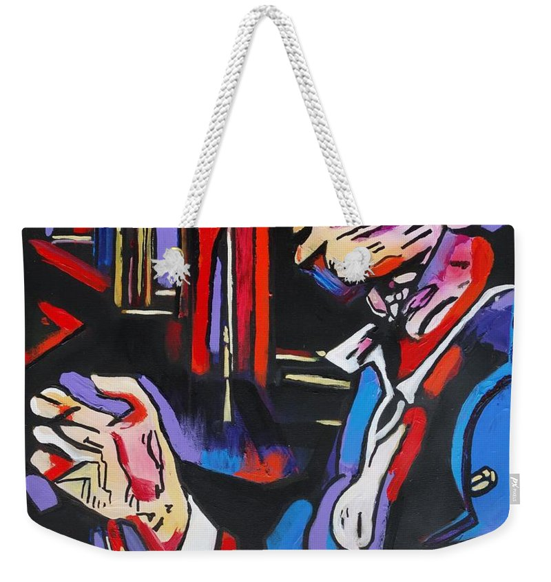 Tom Waits Weekender Tote Bag featuring the painting Tom Waits by Eric Dee