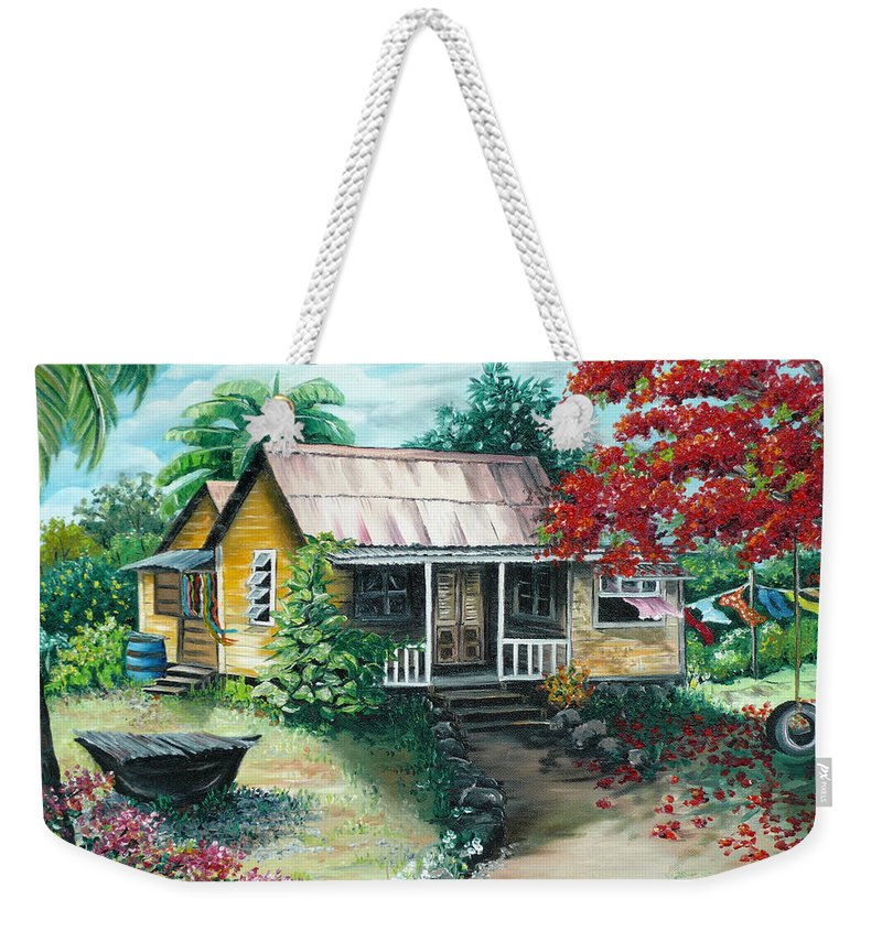 Landscape Painting Caribbean Painting Tropical Painting Island House Painting Poinciana Flamboyant Tree Painting Trinidad And Tobago Painting Weekender Tote Bag featuring the painting Trinidad Life by Karin Dawn Kelshall- Best