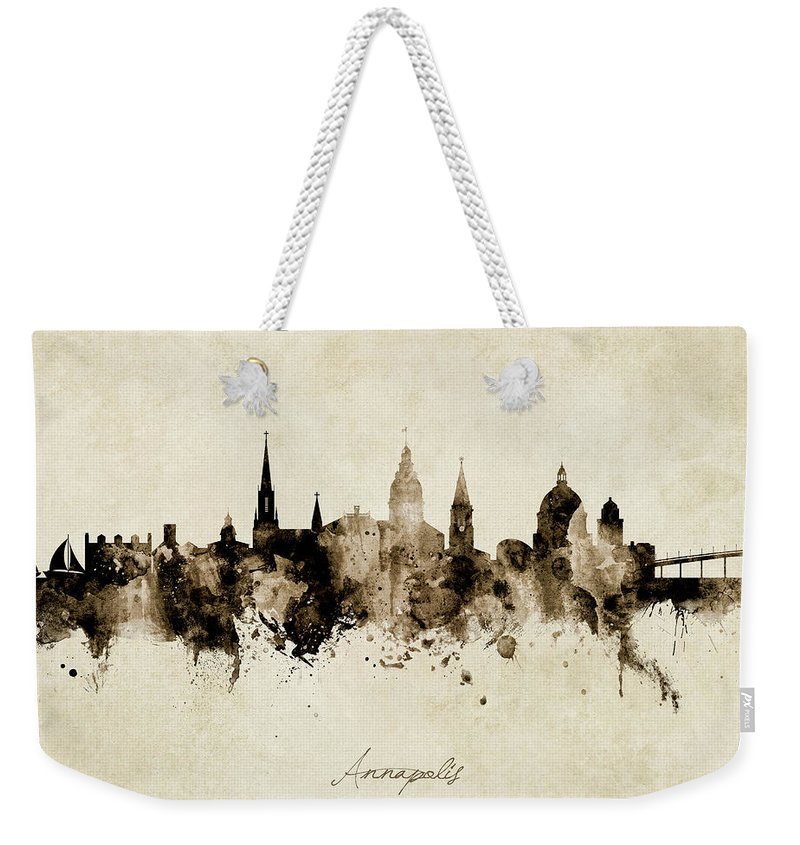 Annapolis Weekender Tote Bag featuring the digital art Annapolis Maryland Skyline by Michael Tompsett